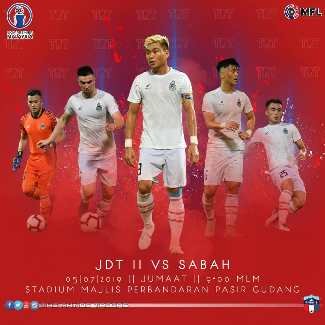 Sabah bertemu JDT II esok dalam pertembungan 2 pasukan teratas Liga Premier 2019