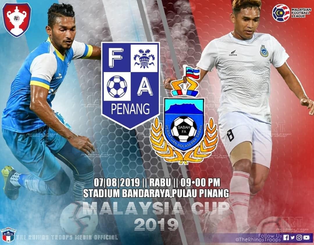 Sabah hadapi Pulau Pinang di Stadium Bandaraya esok untuk teruskan misi mara lebih jauh dalam Piala Malaysia 2019